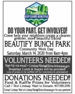 Elkins Arkansas - Beautify Bunch Park Workday.